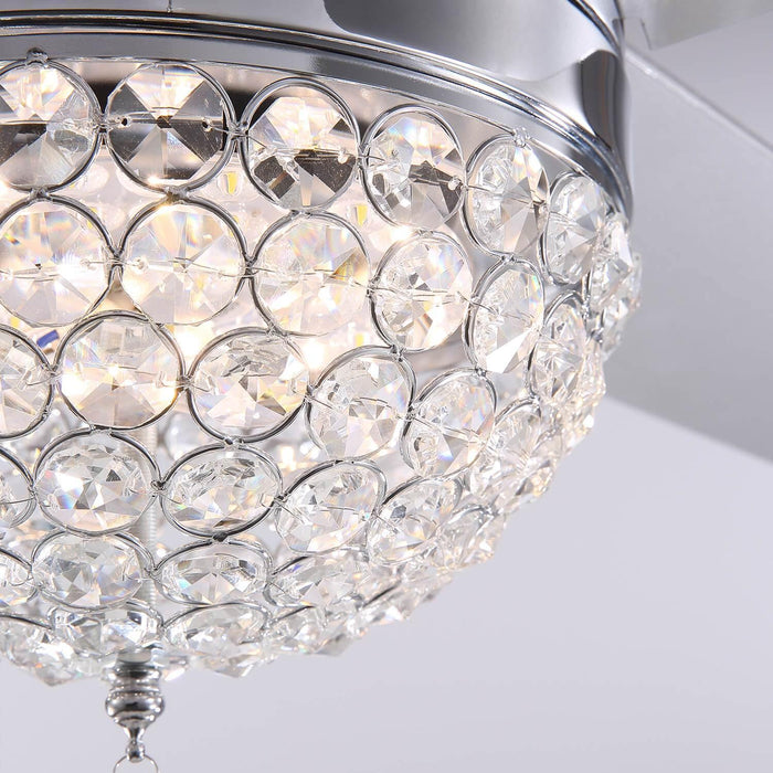 Reversible Ceiling Fan with Light Crystal Details