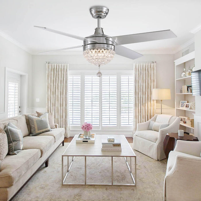 Reversible Ceiling Fan with Light For Living Room