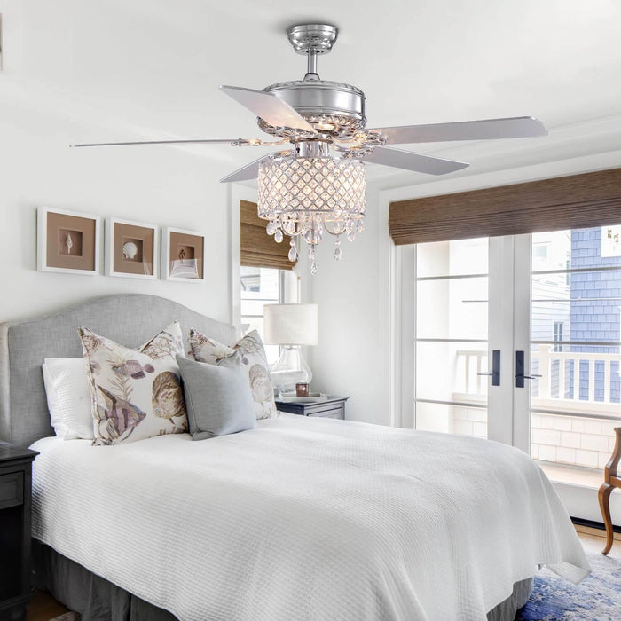 Reversible Crystal Ceiling Fan For Bedoom