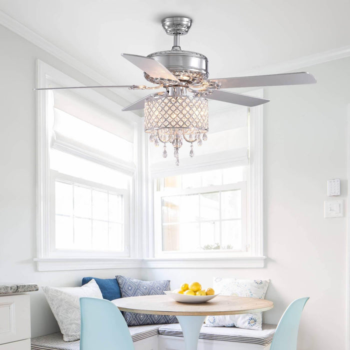 Reversible Crystal Ceiling Fan For Dining Room