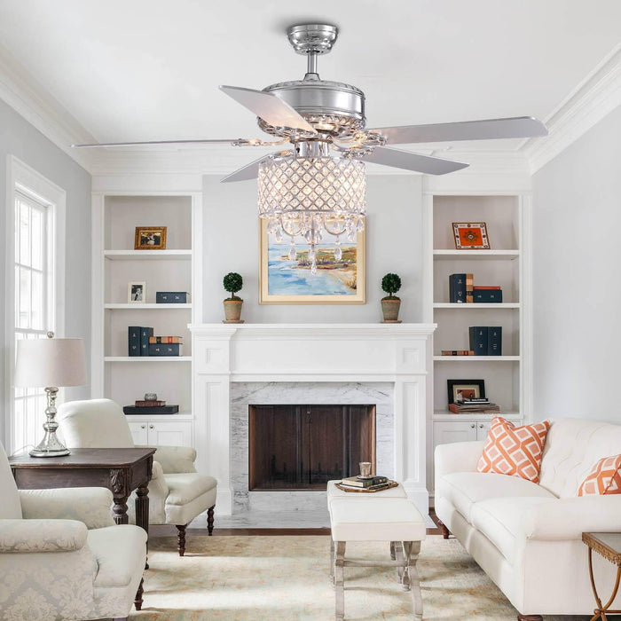 Reversible Crystal Ceiling Fan For Living Room