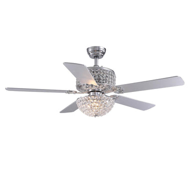 Reversible Crystal Ceiling Fan with Carved Blades