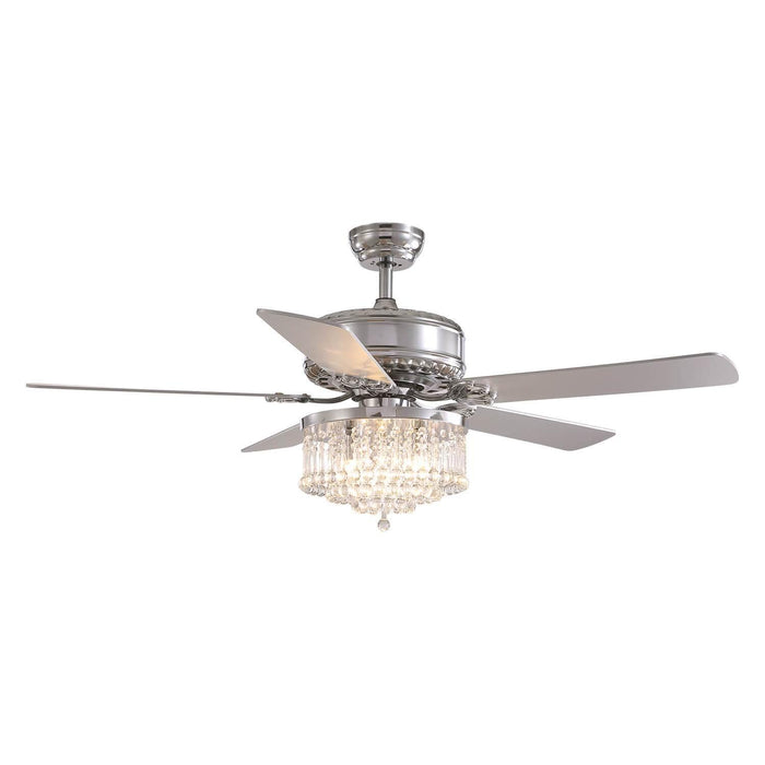 Reversible Crystal Ceiling Fan with Chrome Wood Blades