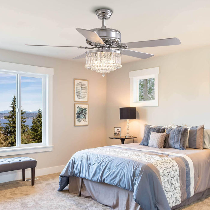 Reversible Crystal Ceiling Fan with Chrome Wood Blades For Bedroom