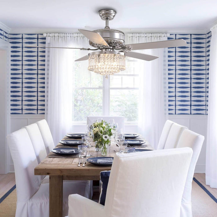 Reversible Crystal Ceiling Fan with Chrome Wood Blades For Dining Room