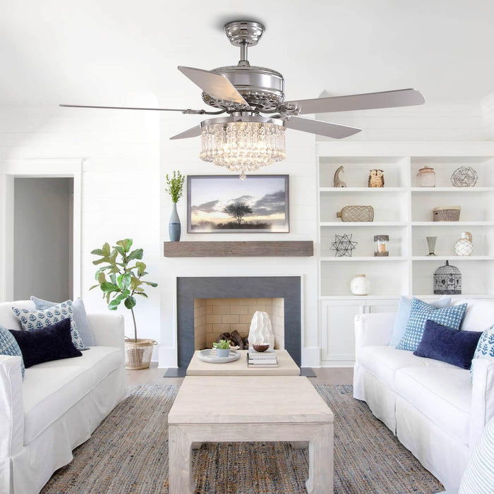 Reversible Crystal Ceiling Fan with Chrome Wood Blades For Living Room