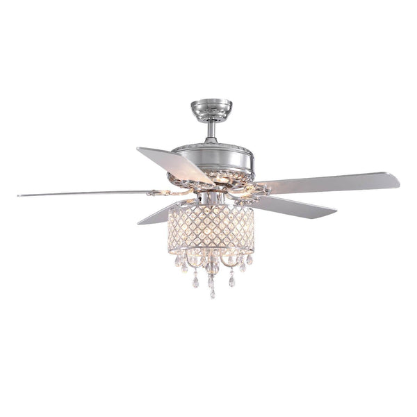 Reversible Crystal Ceiling Fan with Hollow Out Design