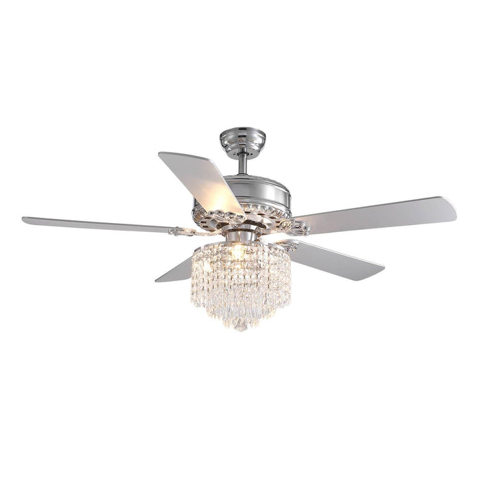 Reversible Crystal Ceiling Fan with Wood Blades.