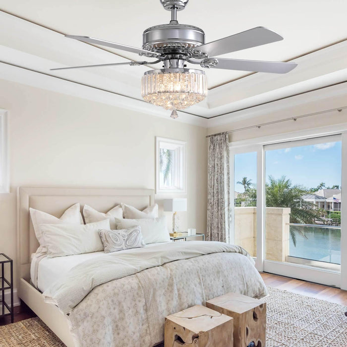 Reversible Crystal Ceiling Fan with Wood Blades For Bedroom