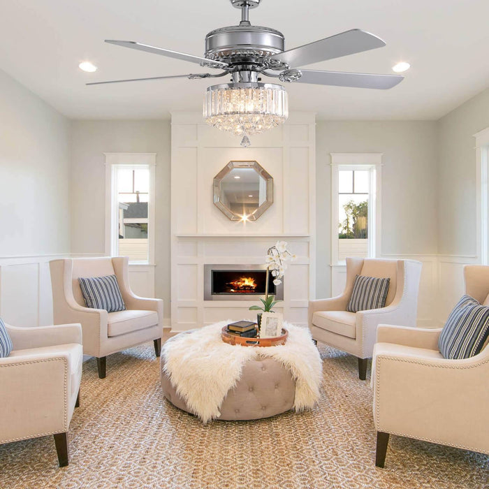 Reversible Crystal Ceiling Fan with Wood Blades For Living Room
