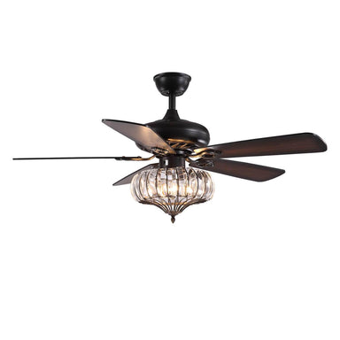 Reversible Wood Blades Ceiling Fan with Crystal