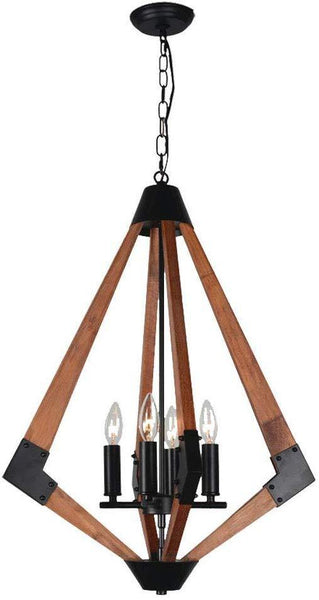 Rhombus Rustic Wooden Pendant Light for Bedroom, 4 Light E12