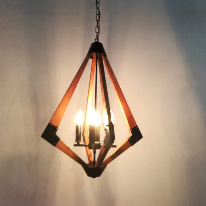 Rhombus Rustic Wooden Pendant Light for Bedroom, 4 Light E12 - Lighting Effect Display