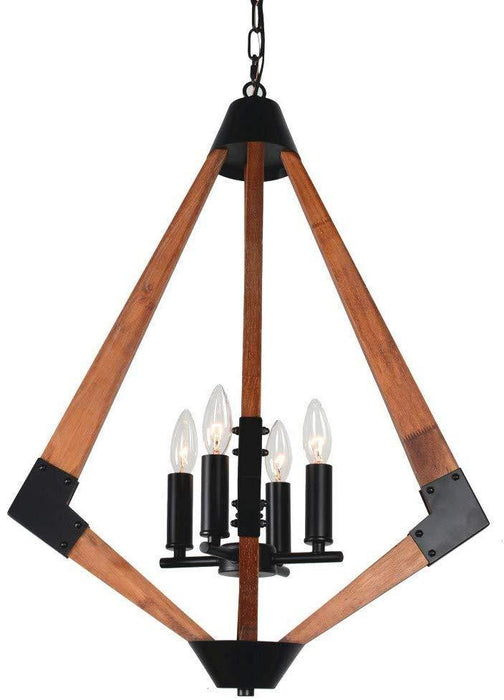 Rhombus Rustic Wooden Pendant Light for Bedroom, 4 Light E12 - Details