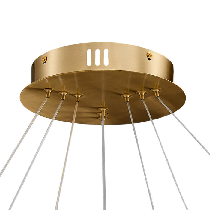Round Brass Hanging Light Canopy Detail