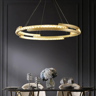 Round Crystal Chandelier with Cut Out Design