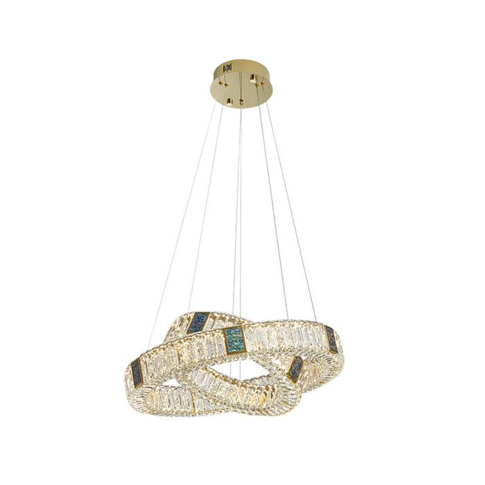 Round Crystal Hanging Light 2 Rings