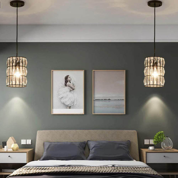 Round Crystal Pendant Light For Bedroom