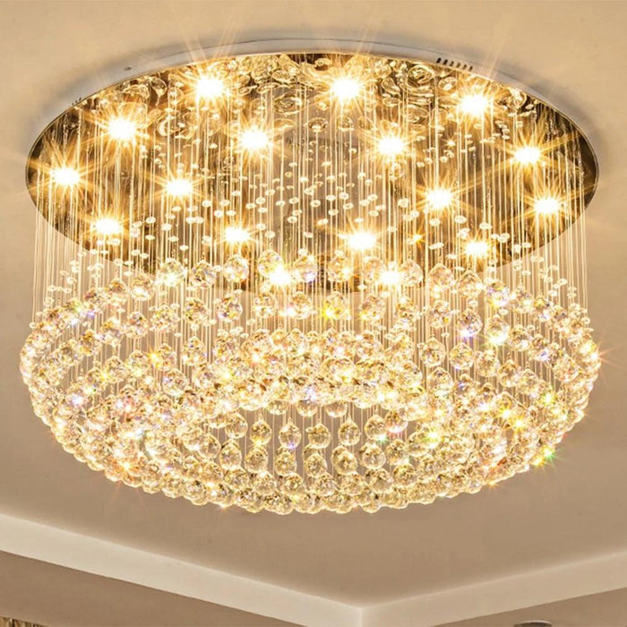 Round Flush Mount Crystal Ceiling Light