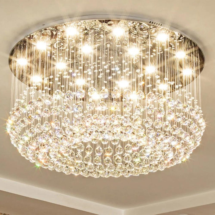 Round Flush Mount Crystal Chandelier