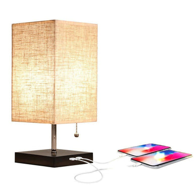 Medium Rustic Table Lamp with Two USB Charging Ports for Bedroom Nightstand