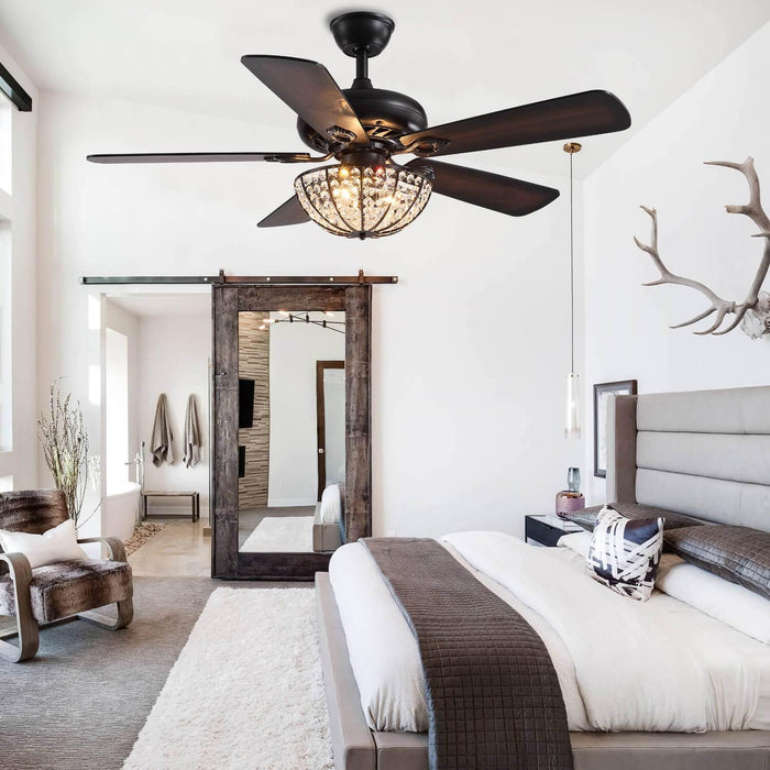 Rustic Wood Blades Crystal Ceiling Fan For Bedroom