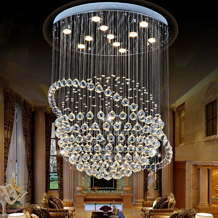 Sphere and Circle Rain Drop Clear K9 Crystal Chandelier - Living Room