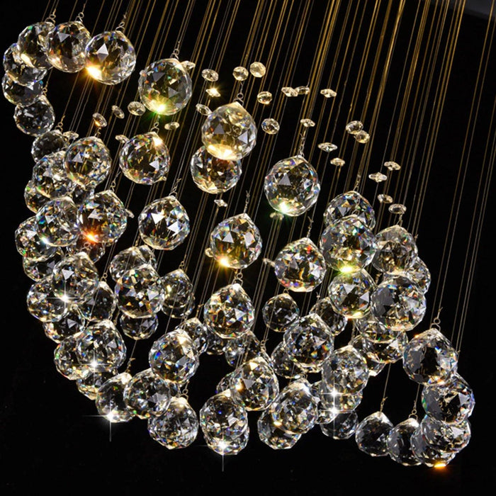 Sphere and Circle Rain Drop Clear K9 Crystal Chandelier - Details