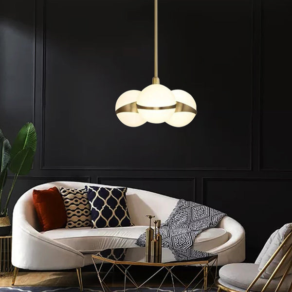 Sphere and Ring Brass Hanging Light