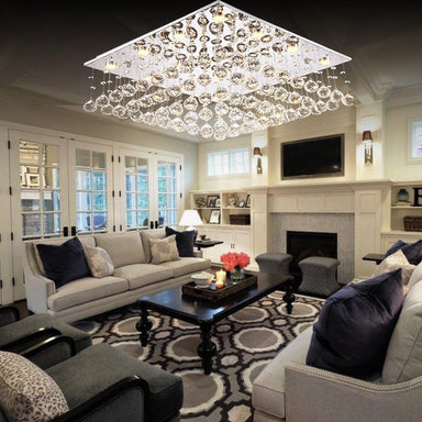 Square Crystal Chandelier Flush Mount Ceiling Light - Living room