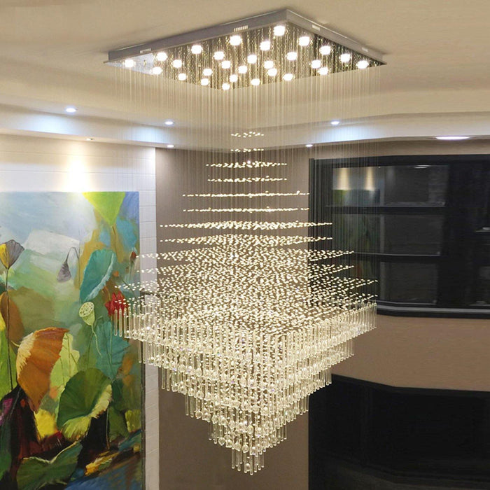 Square Rain Drop Crystal Chandelier Ceiling Light - Living Room