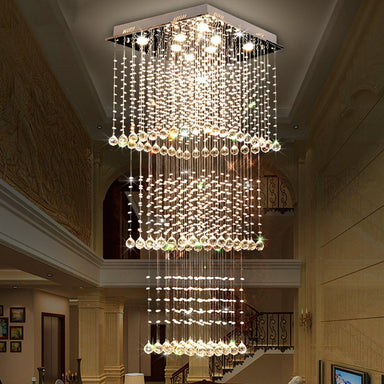 Square Rain Drop Crystal Staircase Ceiling Light