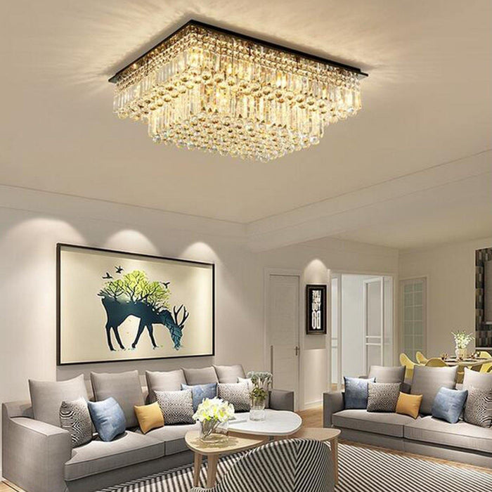 Tiered Crystal Flush Mount Ceiling Light For Living Room