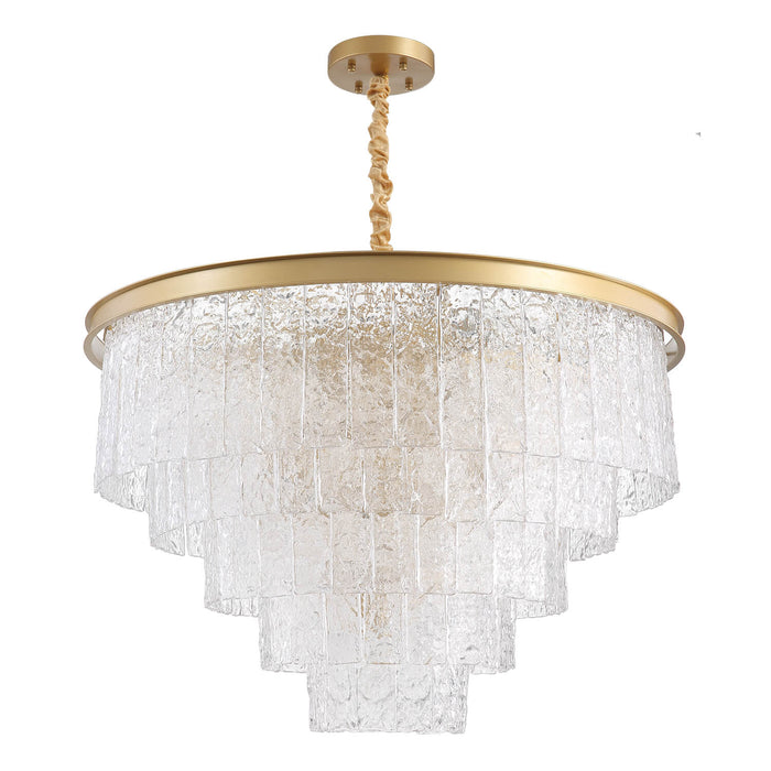 Tiered Round Crystal Chandelier Gold Light Off