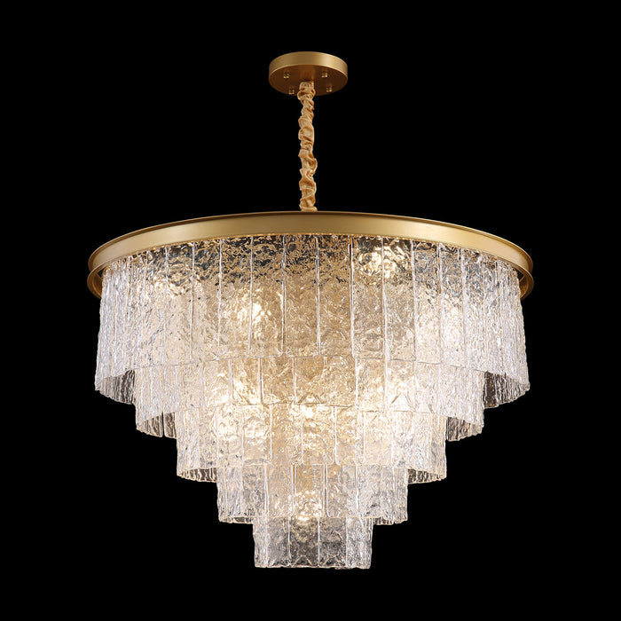 Tiered Round Crystal Chandelier Gold Light On