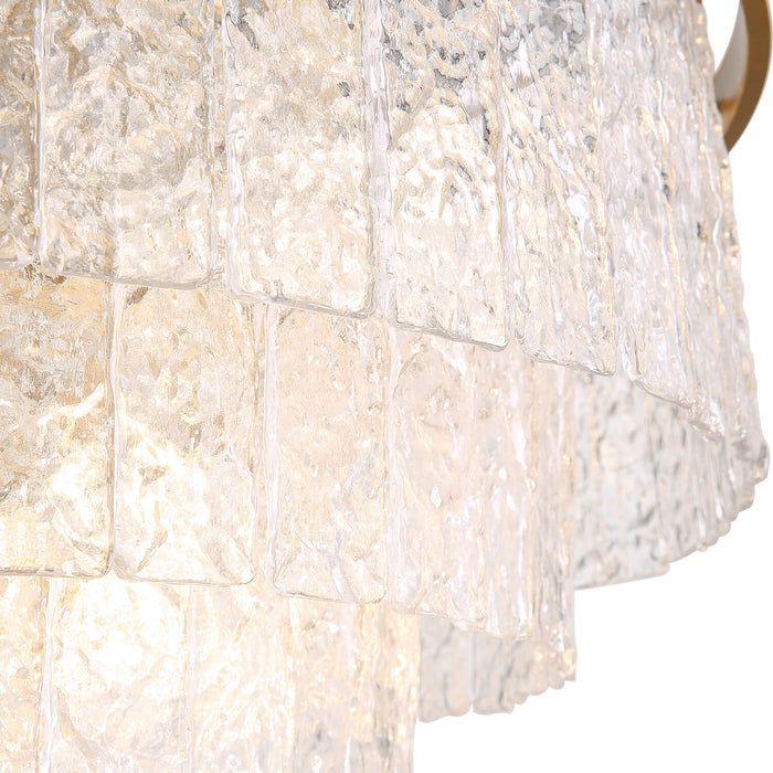 Tiered Round Gold Crystal Pendant Light Detail-2