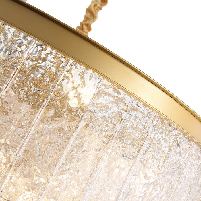 Tiered Round Gold Crystal Pendant Light Detail-3