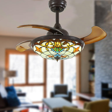 Tiffany Style Retractable Ceiling Fan Chandelier with Dimmable Lights, 36 Brown