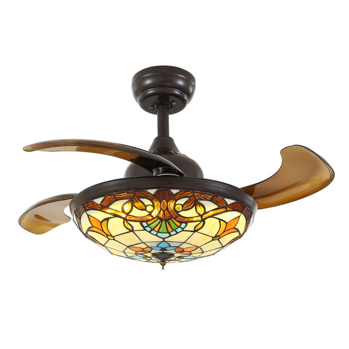 "Tiffany Style Retractable Ceiling Fan Chandelier with Dimmable Lights, 36"" Brown"
