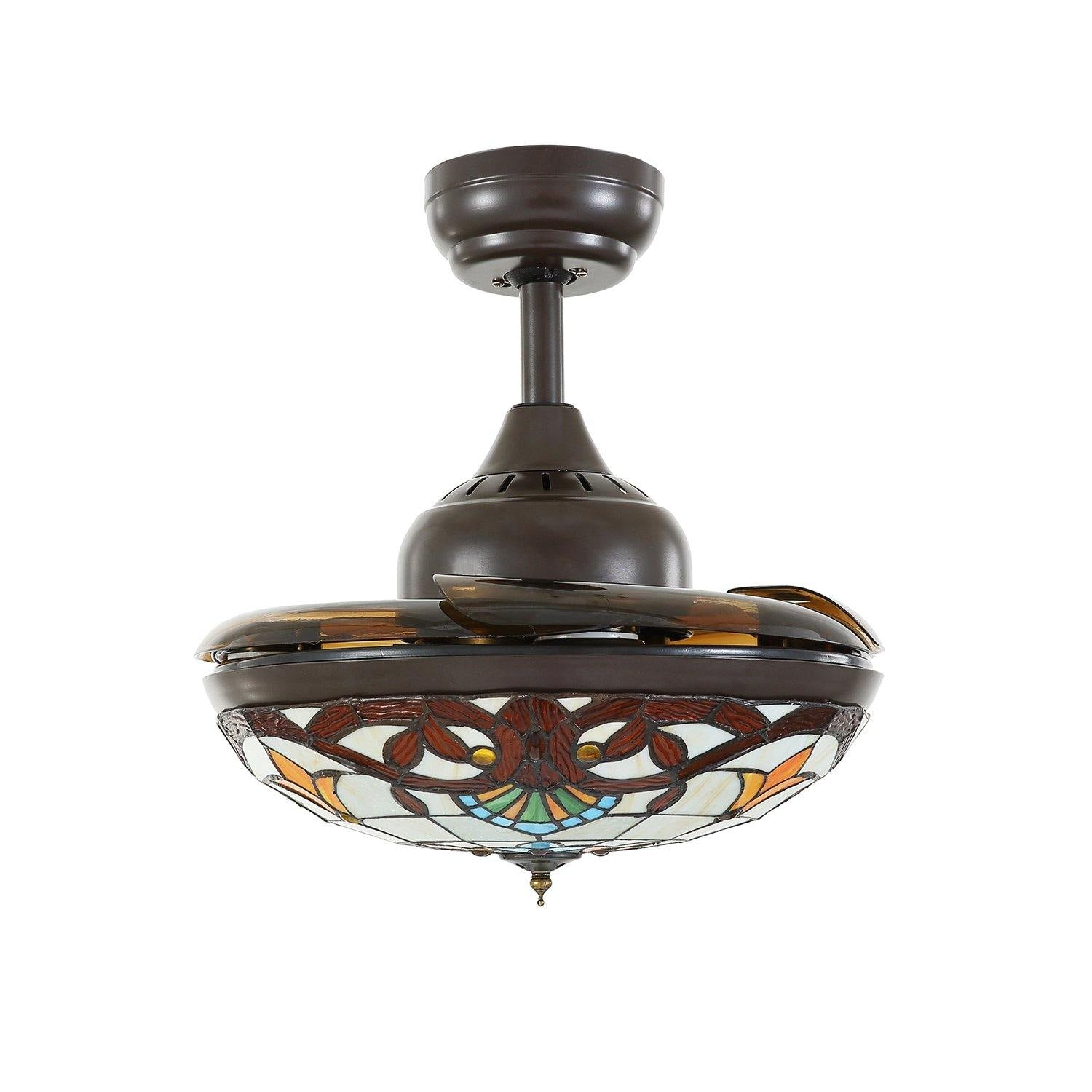 Rustic Retractable Ceiling Fan Chandelier With Dimmable Lights 7pm Lighting