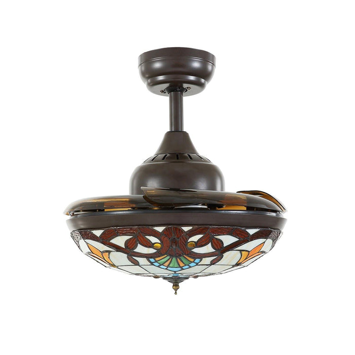 "Tiffany Style Retractable Ceiling Fan Chandelier with Dimmable Lights, 36"" Brown - Invisible Blades"