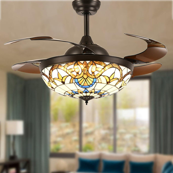 "Tiffany Style Retractable Ceiling Fan with Lights, 42"" Brown"