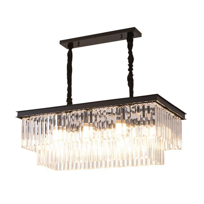Two-Tiered Crystal Chandelier With Black Flush Mount-Light-On