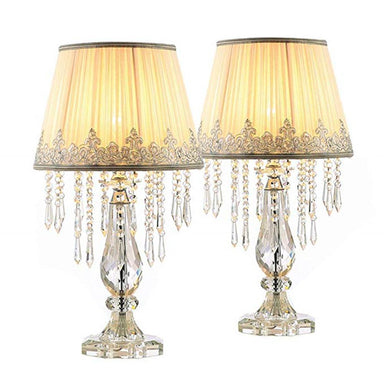 Two Set of Dimmable Crystal Table Lamp for Bedroom Nightstand