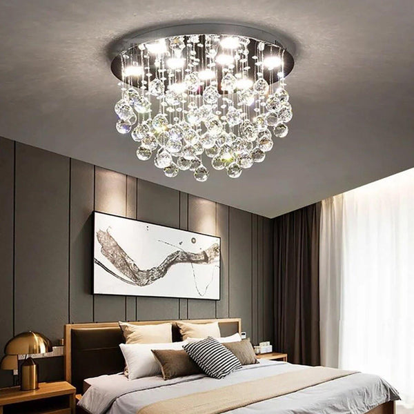 Unique Flush Mount Crystal Chandelier Round Ceiling Light