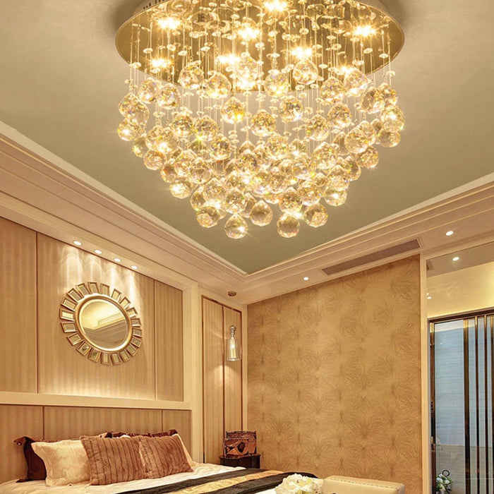 Unique Flush Mount Crystal Chandelier Round Ceiling Light - Bedroom