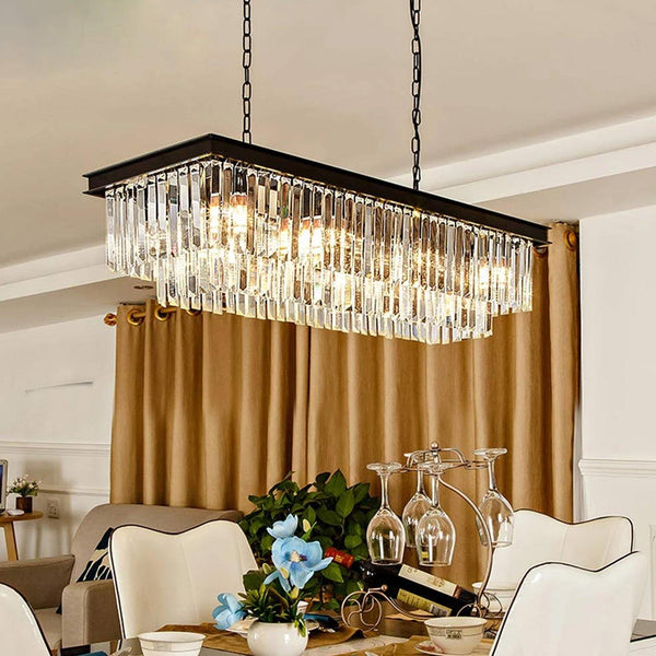 Vintage Rectangular Crystal Chandelier Lighting Black Finish - Dining Room