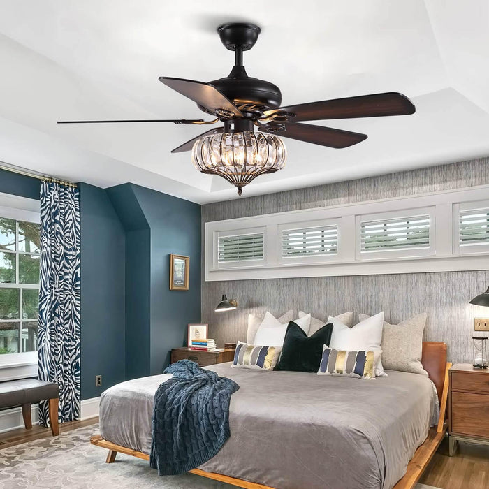 Wood Blades Crystal Ceiling Fan For Bedroom