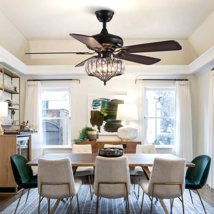 Wood Blades Crystal Ceiling Fan For Dining Room