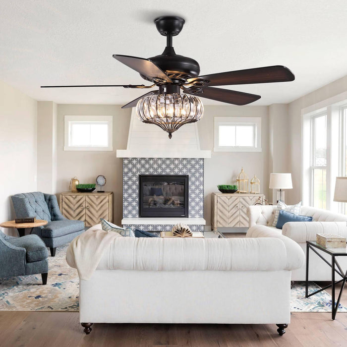 Wood Blades Crystal Ceiling Fan For Living Room